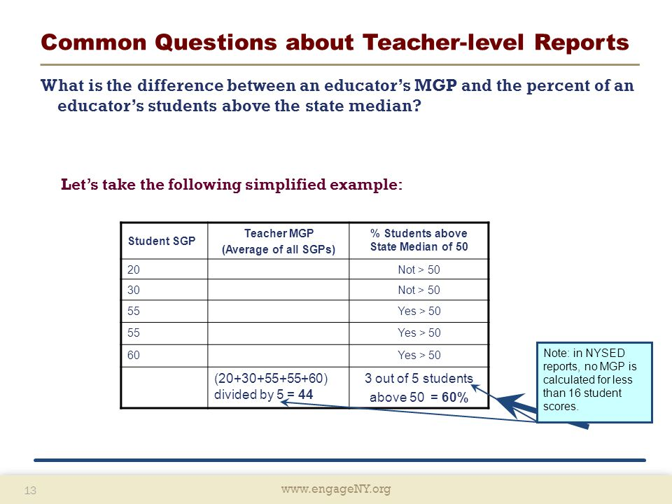 www.engageNY.org 13 www.engageNY.org 13 Common Questions about Teacher-level Reports What is the difference between an educator's MGP and the percent of an educator's students above the state median.