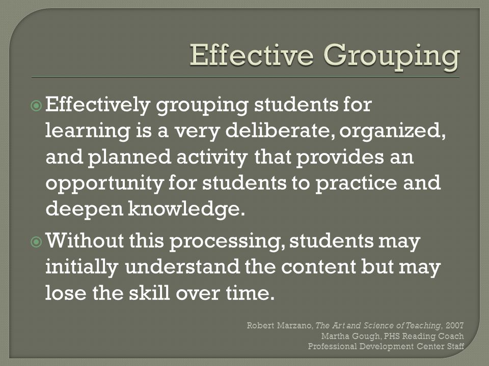 Planned or structured activities that provide opportunities for students to reflect and apply content (content should always be part of the group activity).