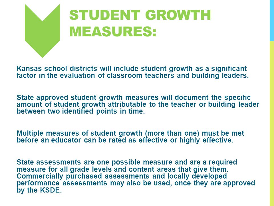 STUDENT GROWTH MEASURES: Kansas school districts will include student growth as a significant factor in the evaluation of classroom teachers and build