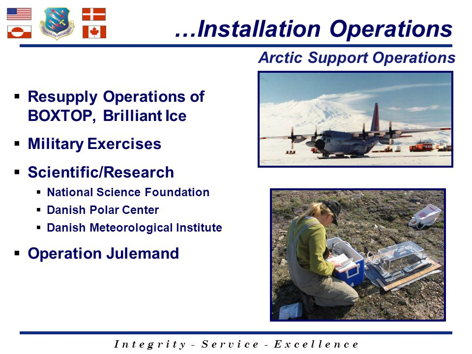I n t e g r i t y - S e r v i c e - E x c e l l e n c e  Resupply Operations of BOXTOP, Brilliant Ice  Military Exercises  Scientific/Research  Na