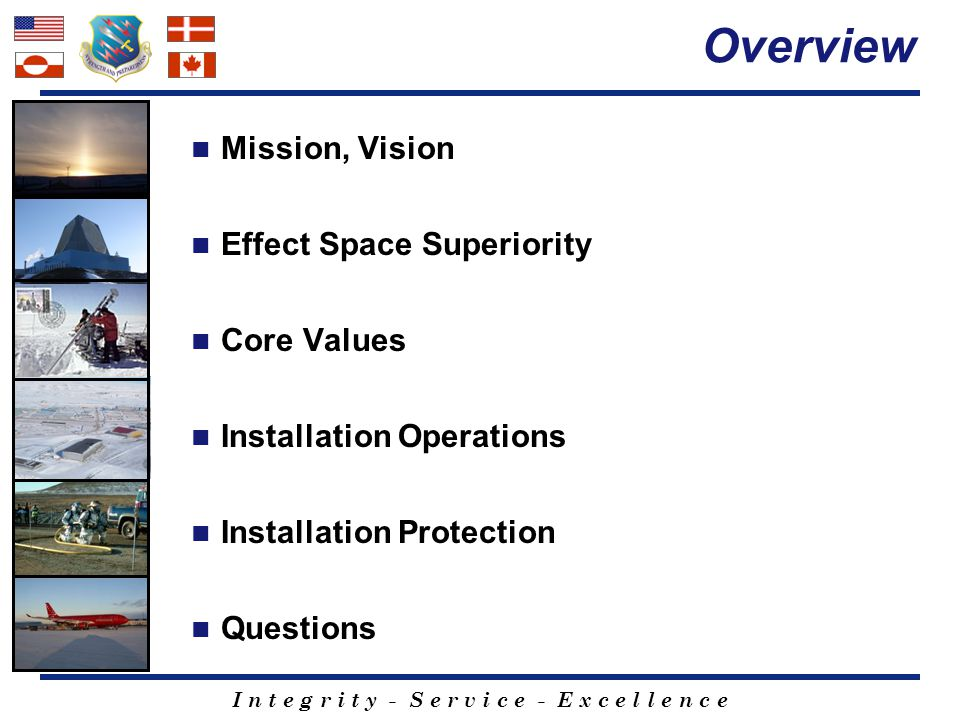 I n t e g r i t y - S e r v i c e - E x c e l l e n c e TEAM THULE MISSION Effect space superiority through Air Force Core Values- based installation operations and protection VISION Transforming Space Operations, and its Support, at DoD's Northernmost Installation GUIDING PRINCIPLES Anticipation, Balance, Communication, Action (ABCA) Mission First…People Always