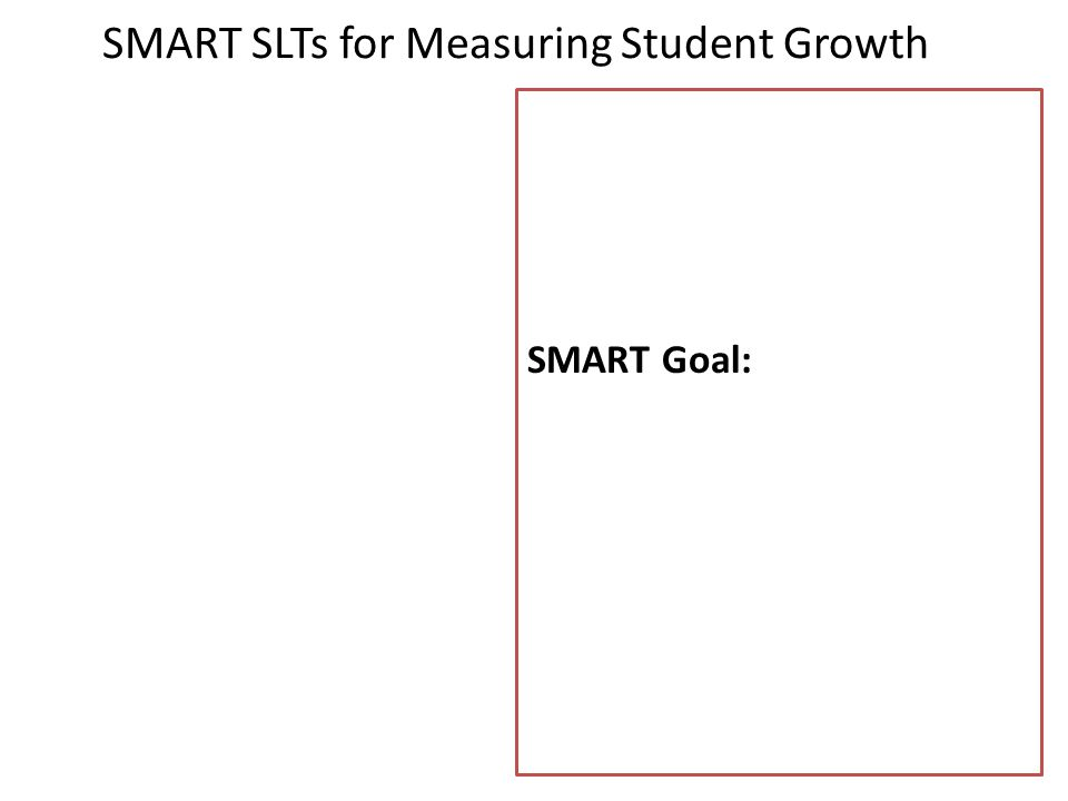 SMART SLTs for Measuring Student Growth SMART Goal: