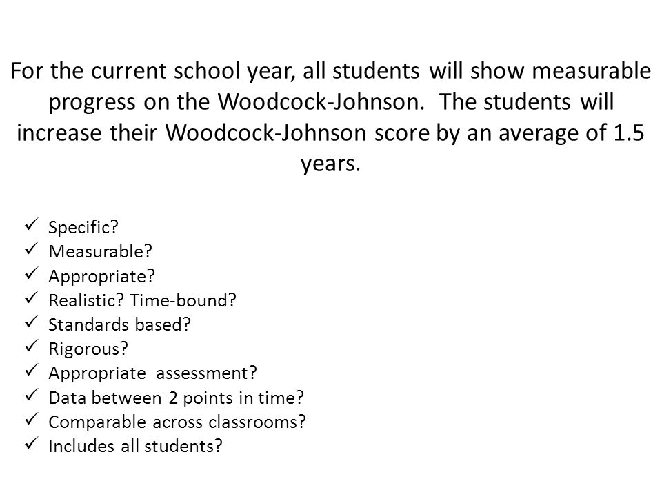 For the current school year, all students will show measurable progress on the Woodcock-Johnson.