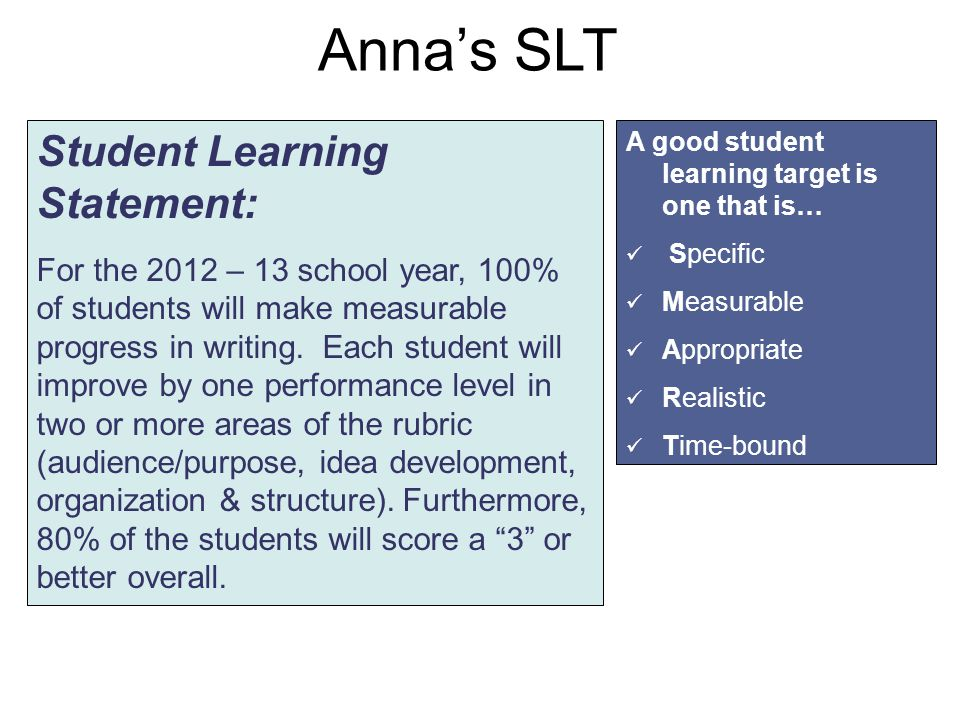 Anna's SLT Student Learning Statement: For the 2012 – 13 school year, 100% of students will make measurable progress in writing.