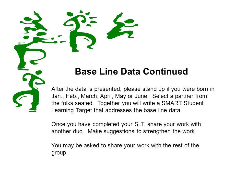 Base Line Data Continued After the data is presented, please stand up if you were born in Jan., Feb., March, April, May or June.
