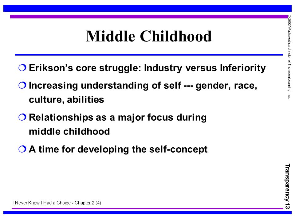 Transparency 13 © 2002 Wadsworth, a division of Thomson Learning, Inc. Middle Childhood  Erikson's core struggle: Industry versus Inferiority  Incre