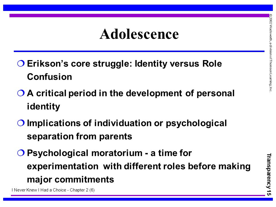 Transparency 15 © 2002 Wadsworth, a division of Thomson Learning, Inc. Adolescence  Erikson's core struggle: Identity versus Role Confusion  A criti