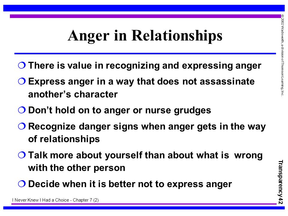 Transparency 42 © 2002 Wadsworth, a division of Thomson Learning, Inc. Anger in Relationships  There is value in recognizing and expressing anger  E