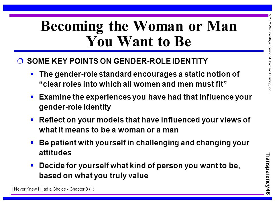 Transparency 46 © 2002 Wadsworth, a division of Thomson Learning, Inc. Becoming the Woman or Man You Want to Be  SOME KEY POINTS ON GENDER-ROLE IDENT