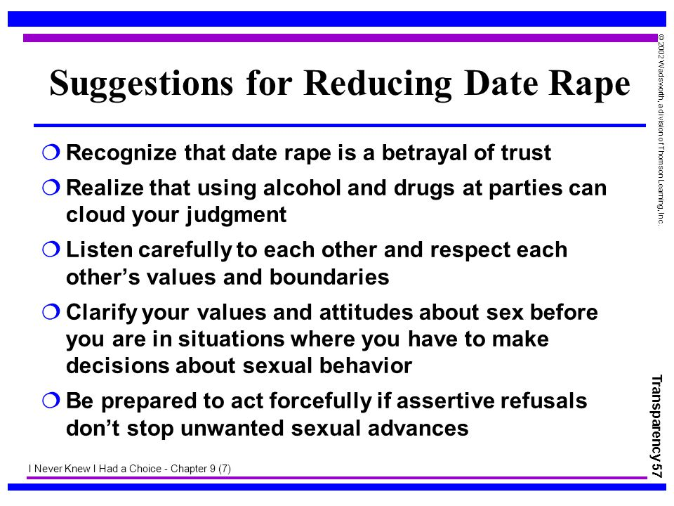 Transparency 57 © 2002 Wadsworth, a division of Thomson Learning, Inc. Suggestions for Reducing Date Rape  Recognize that date rape is a betrayal of