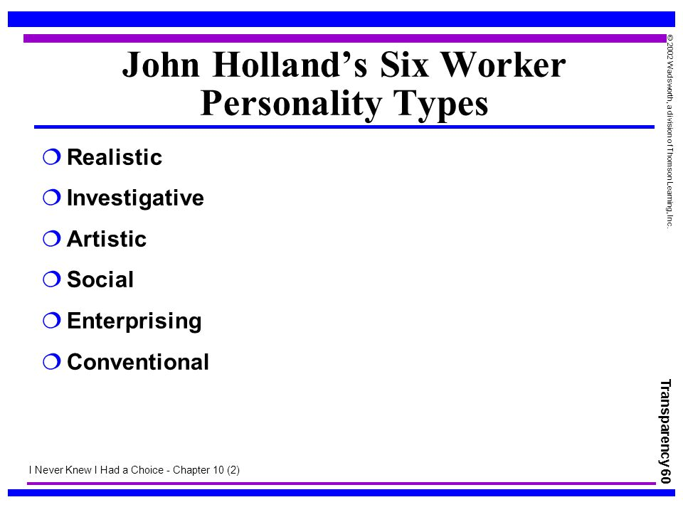 Transparency 60 © 2002 Wadsworth, a division of Thomson Learning, Inc. John Holland's Six Worker Personality Types  Realistic  Investigative  Artis