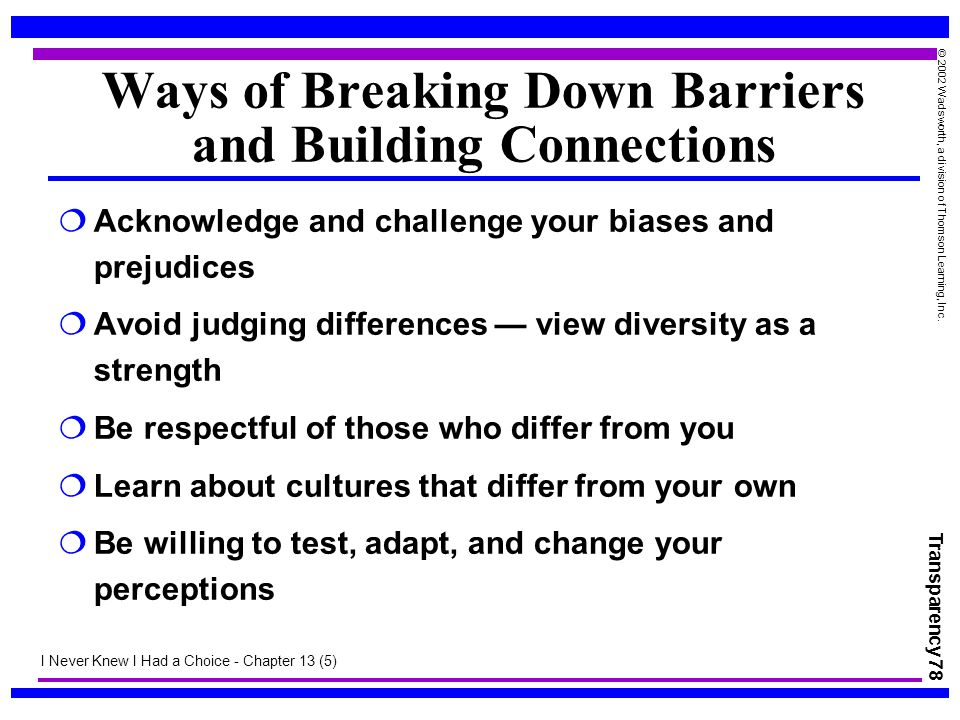 Transparency 78 © 2002 Wadsworth, a division of Thomson Learning, Inc. Ways of Breaking Down Barriers and Building Connections  Acknowledge and chall