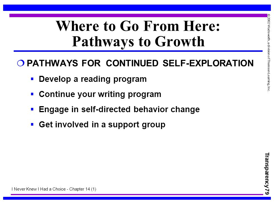 Transparency 79 © 2002 Wadsworth, a division of Thomson Learning, Inc. Where to Go From Here: Pathways to Growth  PATHWAYS FOR CONTINUED SELF-EXPLORA