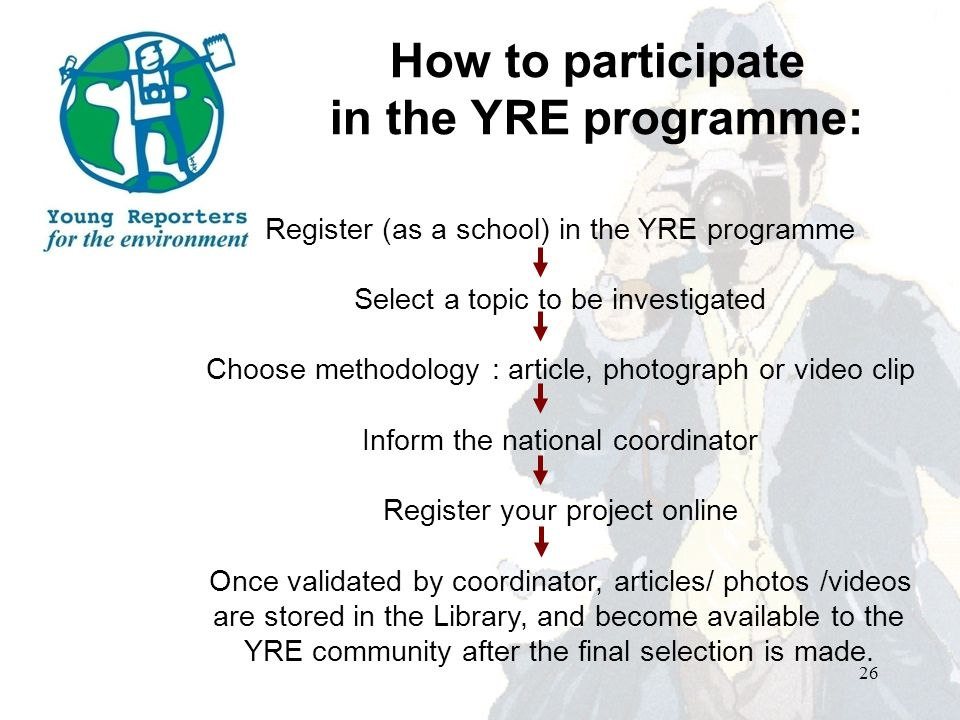 How to participate in the YRE programme: Register (as a school) in the YRE programme Select a topic to be investigated Choose methodology : article, photograph or video clip Inform the national coordinator Register your project online Once validated by coordinator, articles/ photos /videos are stored in the Library, and become available to the YRE community after the final selection is made.