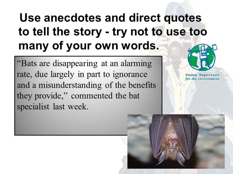 Use anecdotes and direct quotes to tell the story - try not to use too many of your own words.