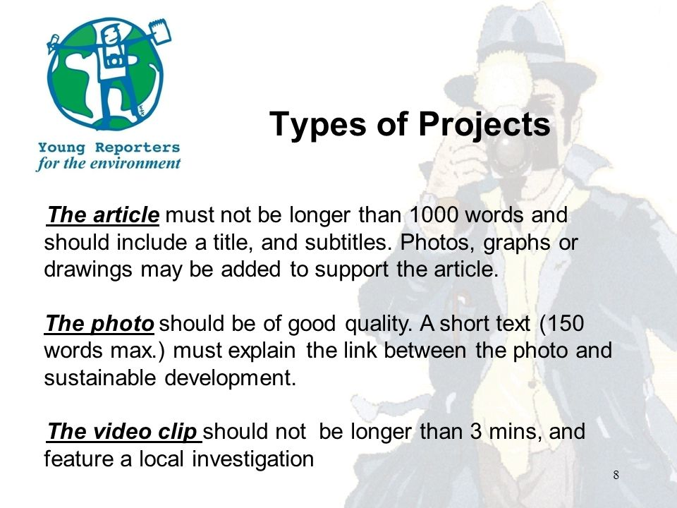 Types of Projects The article must not be longer than 1000 words and should include a title, and subtitles.