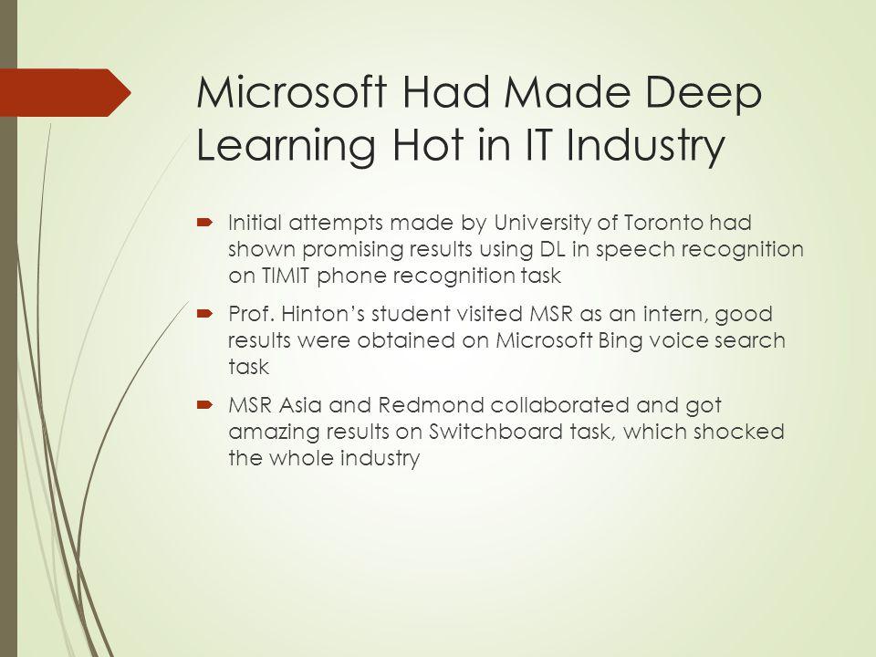 Microsoft Had Made Deep Learning Hot in IT Industry *figure borrowed from MSR principal researcher Li DENG