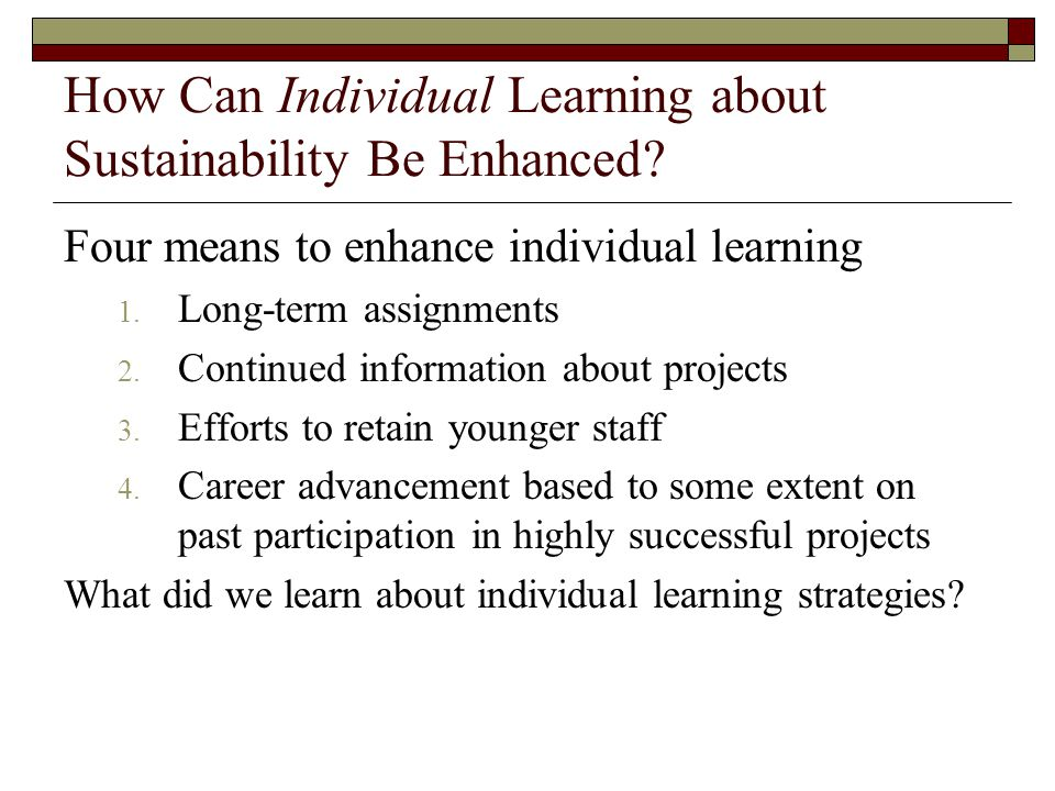 How Can Individual Learning about Sustainability Be Enhanced.