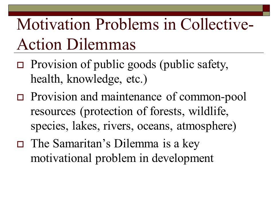 The Samaritan's Dilemma High EffortLow Effort No Help Help Samaritan Recipient 2,22,21,11,1 4,34,33,43,4 Source: Adapted from Buchanan (1977: 170).