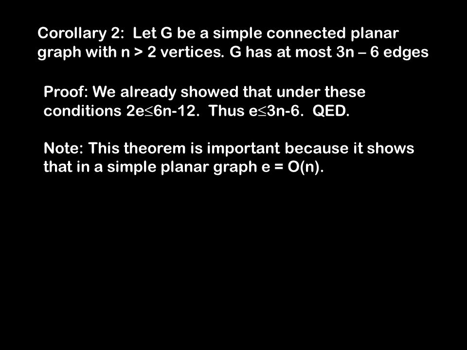 Corollary 2: Let G be a simple connected planar graph with n > 2 vertices.
