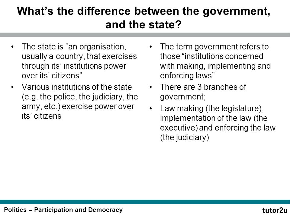 """Politics – Participation and Democracy What's the difference between the government, and the state? The state is """"an organisation, usually a country,"""