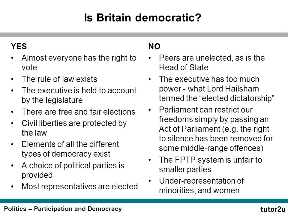Politics – Participation and Democracy Is Britain democratic? YES Almost everyone has the right to vote The rule of law exists The executive is held t