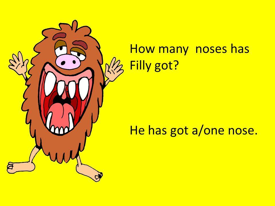 How many noses has Jasmine got? She has got one nose.