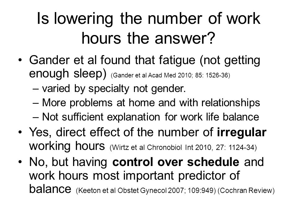 Is lowering the number of work hours the answer.