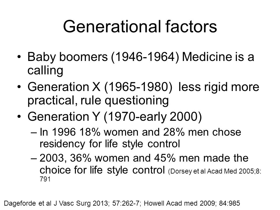 Generational factors Baby boomers (1946-1964) Medicine is a calling Generation X (1965-1980) less rigid more practical, rule questioning Generation Y (1970-early 2000) –In 1996 18% women and 28% men chose residency for life style control –2003, 36% women and 45% men made the choice for life style control (Dorsey et al Acad Med 2005;8: 791 Dageforde et al J Vasc Surg 2013; 57:262-7; Howell Acad med 2009; 84:985