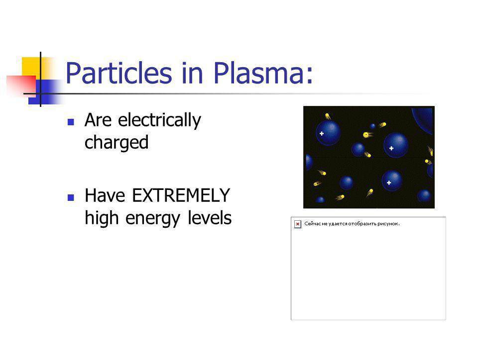 Plasma Lightning is a plasma. Used in fluorescent light bulbs and Neon lights. Plasma is a lot like a gas, but the particles are electrically charged.