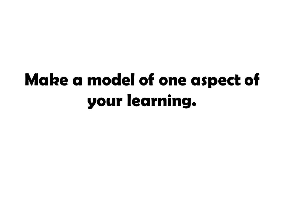 Make a model of one aspect of your learning.