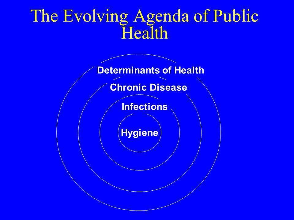 The Evolving Agenda of Public Health Hygiene Infections Chronic Disease Determinants of Health