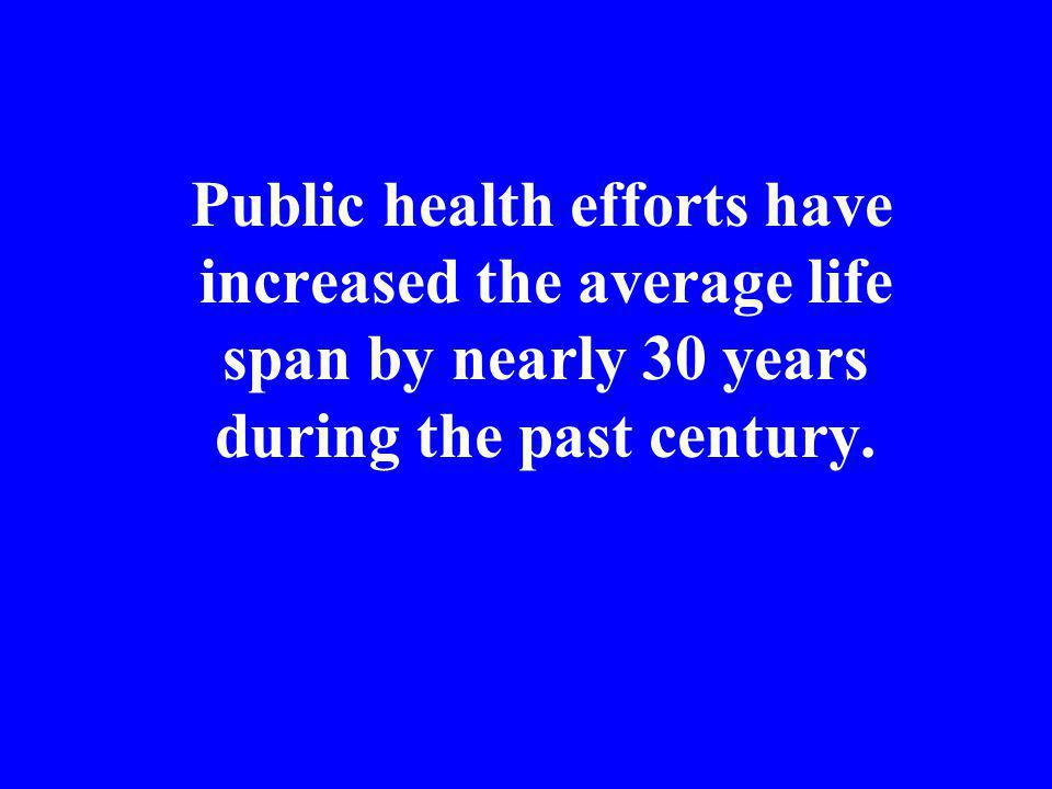 Public health efforts have increased the average life span by nearly 30 years during the past century.