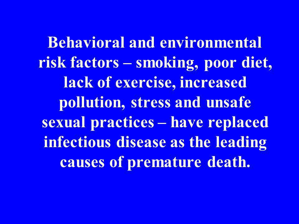 Behavioral and environmental risk factors – smoking, poor diet, lack of exercise, increased pollution, stress and unsafe sexual practices – have repla