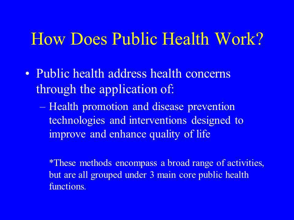 How Does Public Health Work? Public health address health concerns through the application of: –Health promotion and disease prevention technologies a