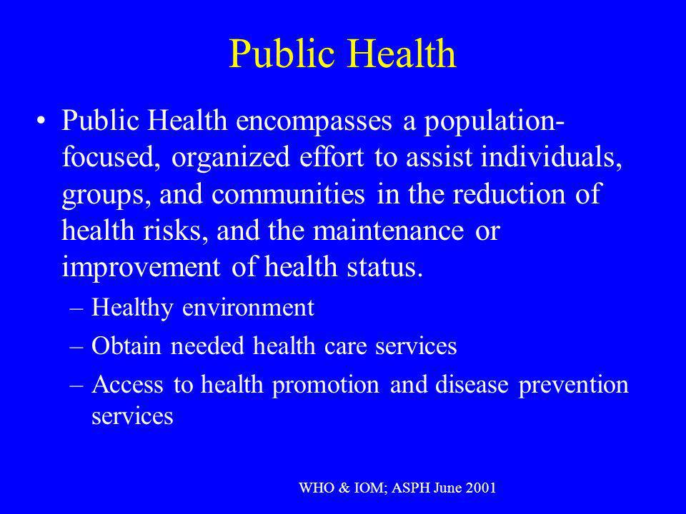 Public Health Public Health encompasses a population- focused, organized effort to assist individuals, groups, and communities in the reduction of hea