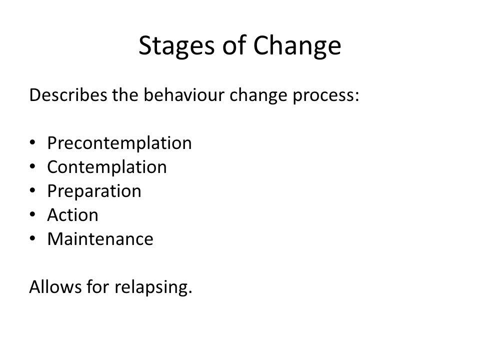Stages of Change Describes the behaviour change process: Precontemplation Contemplation Preparation Action Maintenance Allows for relapsing.