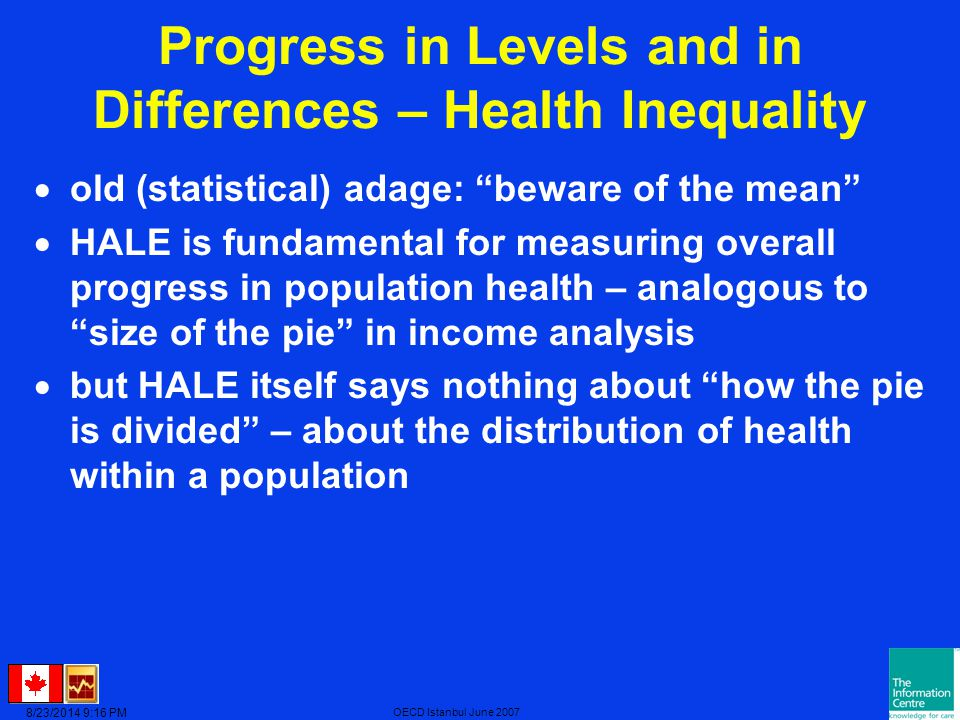 8/23/2014 9:17 PM OECD Istanbul June 2007 Progress in Levels and in Differences – Health Inequality  old (statistical) adage: beware of the mean  HALE is fundamental for measuring overall progress in population health – analogous to size of the pie in income analysis  but HALE itself says nothing about how the pie is divided – about the distribution of health within a population