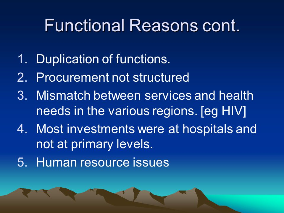 Functional Reasons cont. 1.Duplication of functions.