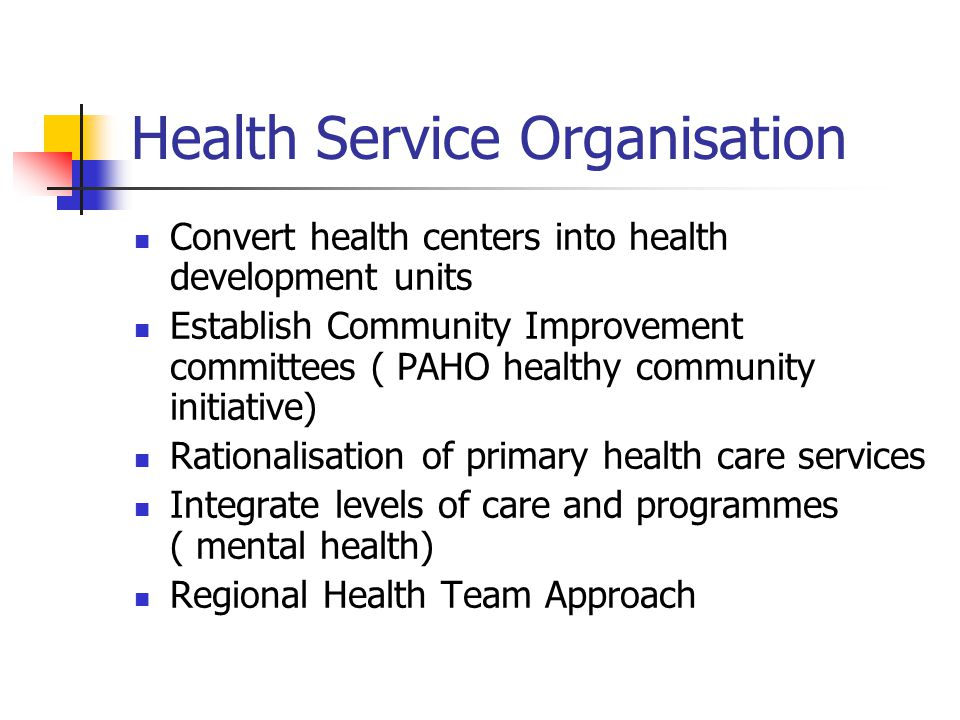 Health Service Organisation Convert health centers into health development units Establish Community Improvement committees ( PAHO healthy community i