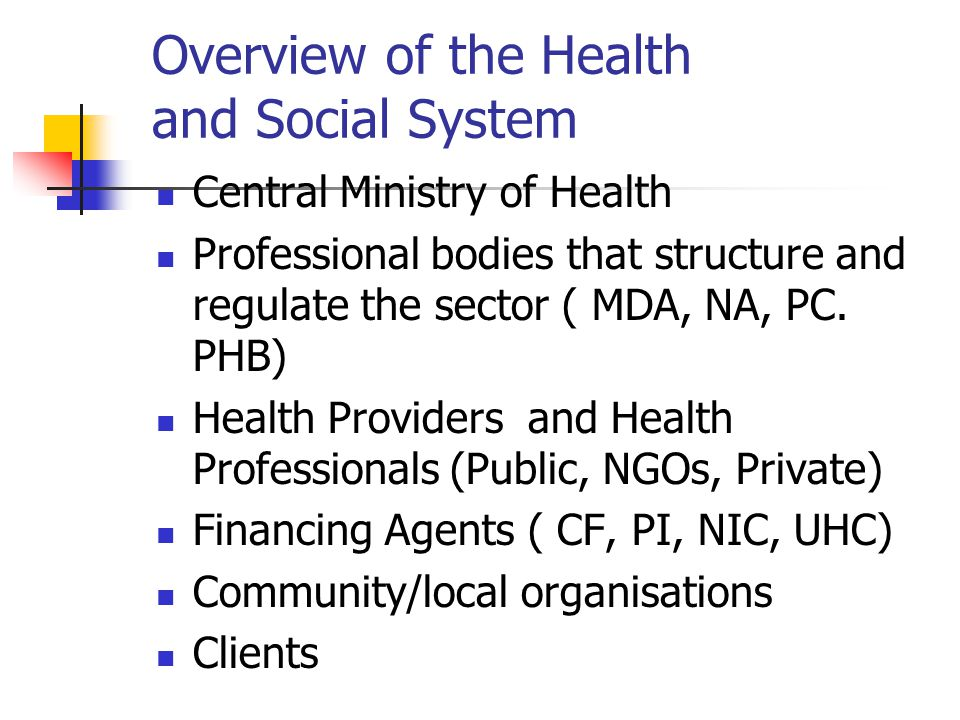 Overview of the Health and Social System Central Ministry of Health Professional bodies that structure and regulate the sector ( MDA, NA, PC. PHB) Hea