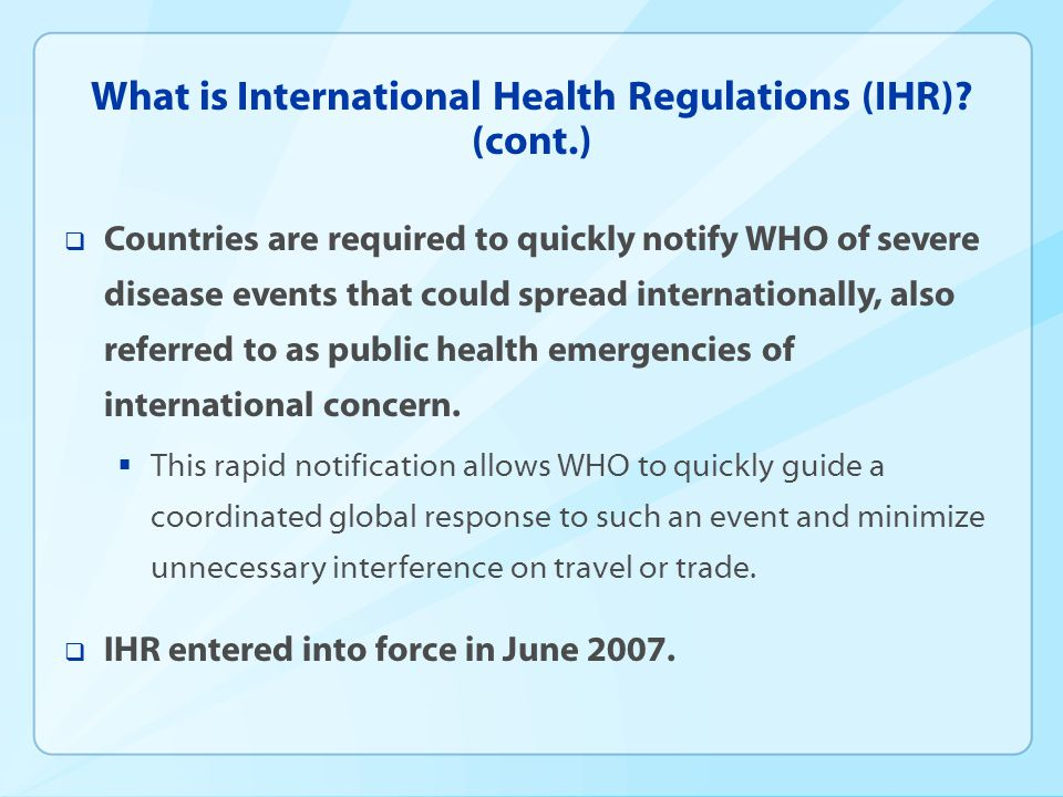 What is International Health Regulations (IHR).