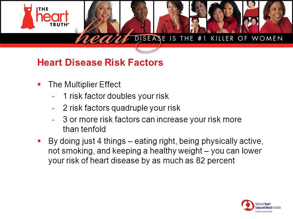 Heart Disease Risk Factors  The Multiplier Effect -1 risk factor doubles your risk -2 risk factors quadruple your risk -3 or more risk factors can in