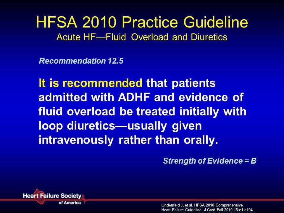 Lindenfeld J, et al. HFSA 2010 Comprehensive Heart Failure Guideline. J Card Fail 2010;16:e1-e194. HFSA 2010 Practice Guideline Acute HF—Fluid Overloa