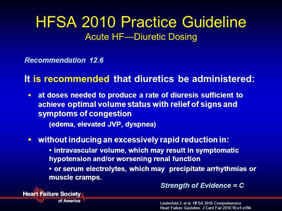 Lindenfeld J, et al. HFSA 2010 Comprehensive Heart Failure Guideline. J Card Fail 2010;16:e1-e194. HFSA 2010 Practice Guideline Acute HF—Diuretic Dosi