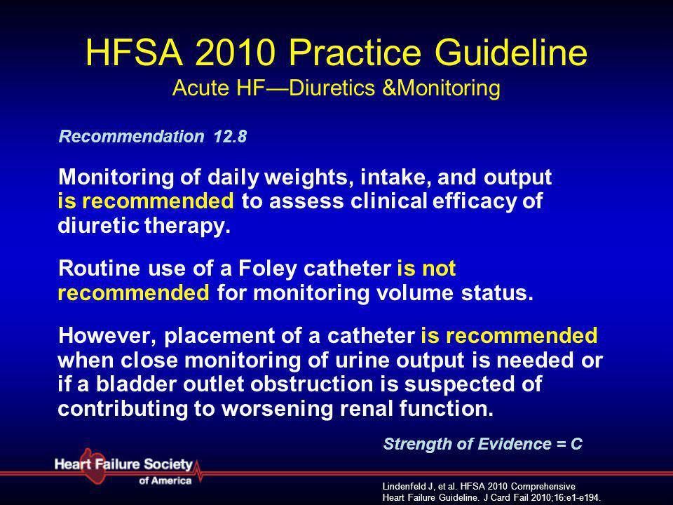 Lindenfeld J, et al. HFSA 2010 Comprehensive Heart Failure Guideline. J Card Fail 2010;16:e1-e194. HFSA 2010 Practice Guideline Acute HF—Diuretics &Mo