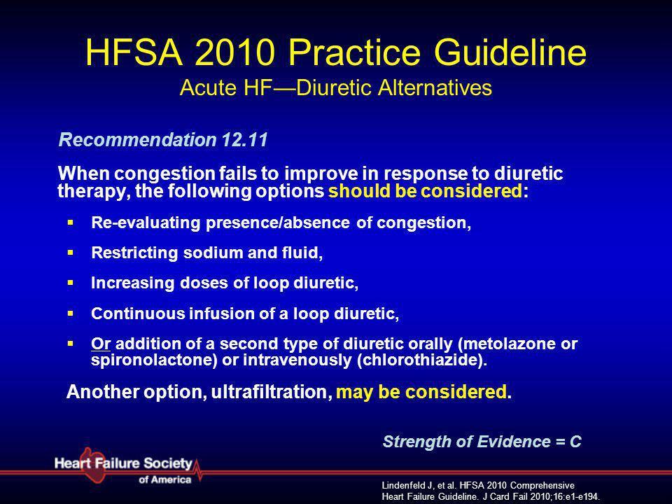 Lindenfeld J, et al. HFSA 2010 Comprehensive Heart Failure Guideline. J Card Fail 2010;16:e1-e194. HFSA 2010 Practice Guideline Acute HF—Diuretic Alte