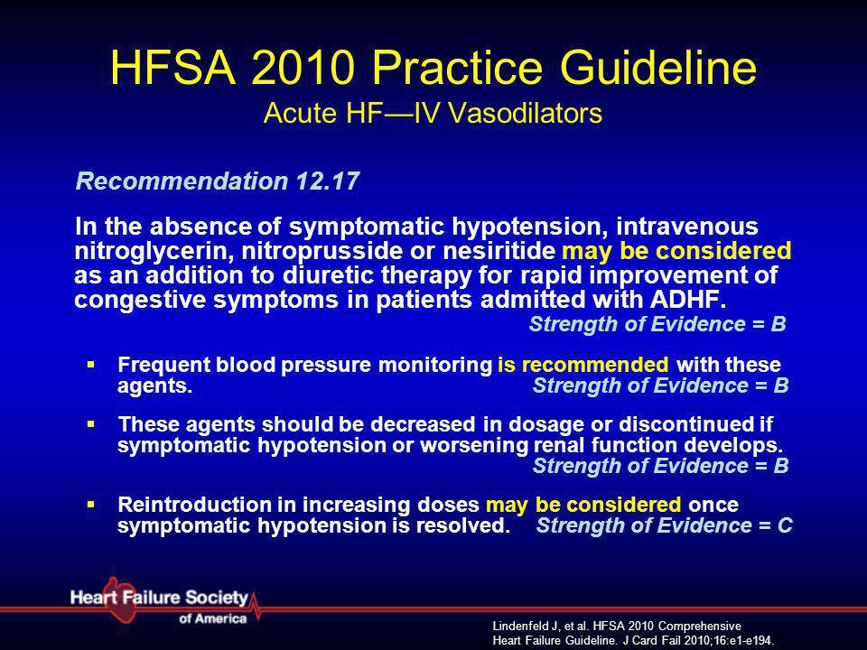 Lindenfeld J, et al. HFSA 2010 Comprehensive Heart Failure Guideline. J Card Fail 2010;16:e1-e194. HFSA 2010 Practice Guideline Acute HF—IV Vasodilato