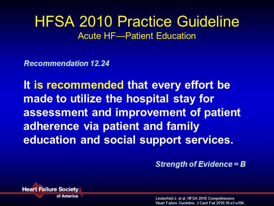 Lindenfeld J, et al. HFSA 2010 Comprehensive Heart Failure Guideline. J Card Fail 2010;16:e1-e194. HFSA 2010 Practice Guideline Acute HF—Patient Educa
