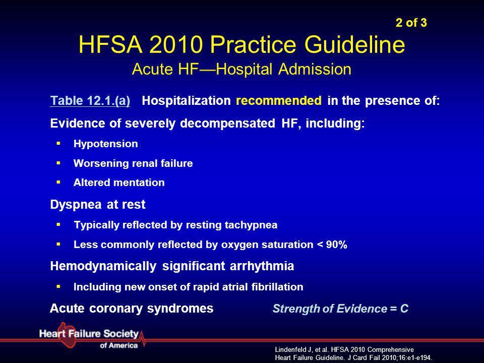 Lindenfeld J, et al. HFSA 2010 Comprehensive Heart Failure Guideline. J Card Fail 2010;16:e1-e194. 2 of 3 HFSA 2010 Practice Guideline Acute HF—Hospit